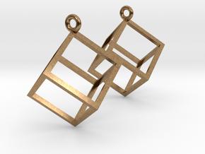 Cube Earrings in Natural Brass