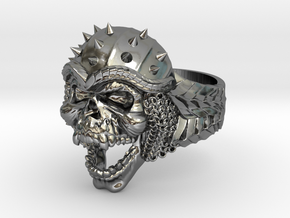 Viking Skull Ring  in Fine Detail Polished Silver