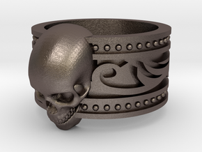 Tribal Skull Ring  in Polished Bronzed Silver Steel