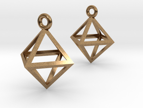 Octahedron Earrings in Natural Brass
