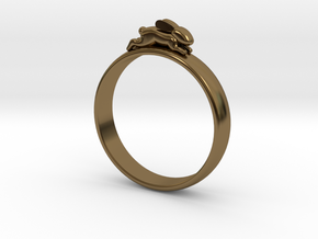 Bunny Rabbit Ring UK P, US 7.5, 17.8mm in Polished Bronze