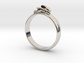 Bunny Rabbit Ring UK P, US 7.5, 17.8mm in Rhodium Plated Brass