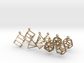 Platonic Earrings Set in Polished Gold Steel