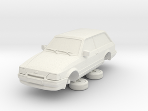 1-64 Ford Escort Mk4 2 Door Estate in White Natural Versatile Plastic
