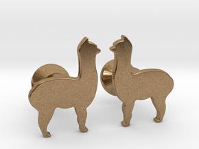 Llama Cufflinks in Natural Brass
