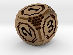 8-Bit Pixel Die in Natural Brass