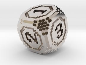 8-Bit Pixel Die in Rhodium Plated Brass