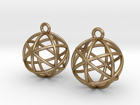 Planetary Merkaba Earrings in Polished Gold Steel