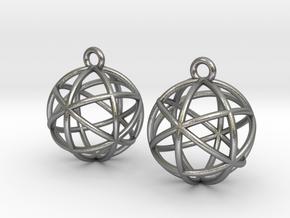 Planetary Merkaba Earrings in Natural Silver