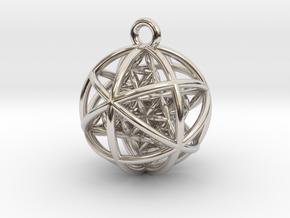 Flower of Life Planetary Merkaba Pendant in Platinum