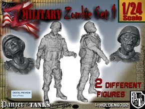1-24 Military Zombie Set 1 in White Natural Versatile Plastic