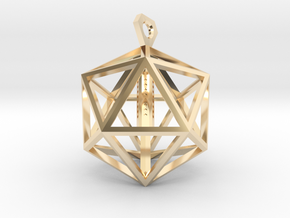 Architectural Icosahedron Pendant in 14K Gold
