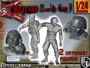1-24 Military Zombie Set 7 in White Natural Versatile Plastic