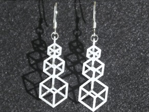 Outline Cube Earings in Frosted Ultra Detail