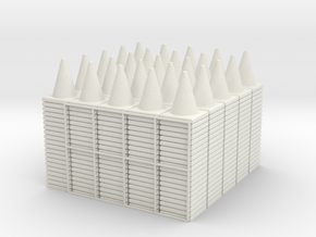 500 Traffic Cones (Stackable), 1/32 in White Strong & Flexible