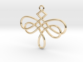 Dragonfly Celtic Knot Pendant in 14k Gold Plated Brass