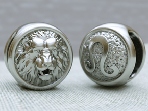 Zodiac Lion (charms) in Polished Silver
