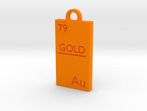 Gold Bar Pendant in Orange Processed Versatile Plastic