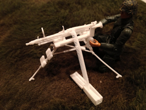 1:16 Lafette Tripod + MG42, ammo belt and box  in White Natural Versatile Plastic