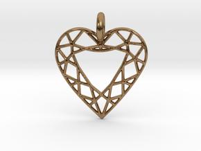 Heart Diamond Pendant in Natural Brass