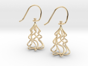 Christmas Tree Twirl in 14k Gold Plated Brass