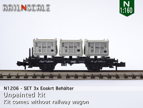 SET 3x Eoskrt 021 Behälter (FLM/MTX) (N 1:160) in Smooth Fine Detail Plastic