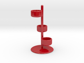 Tealight Triple Candle Holder in Gloss Red Porcelain