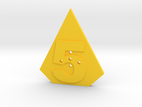 5-hole, Number 5, 5 Sided Shape Button in Yellow Processed Versatile Plastic