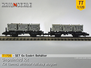 SET 6x Eoskrt 021 Behälter (Tillig) (TT 1:120) in Smooth Fine Detail Plastic