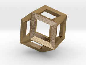 1.84cm-Rhombic Dodecahedron(Leonardo-style model) in Polished Gold Steel