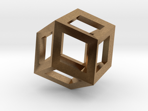 1.84cm-Rhombic Dodecahedron(Leonardo-style model) in Natural Brass