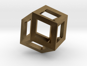 1.84cm-Rhombic Dodecahedron(Leonardo-style model) in Natural Bronze