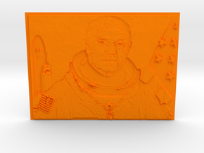 Embossed Image Of Late Astronaut/Senator John Glen in Orange Processed Versatile Plastic