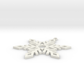 Snow Ornament V2 in White Strong & Flexible