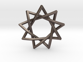 9 Pointed Penrose Star in Polished Bronzed Silver Steel