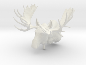 """Hook"" the Moose Shoulder Mount in White Natural Versatile Plastic"