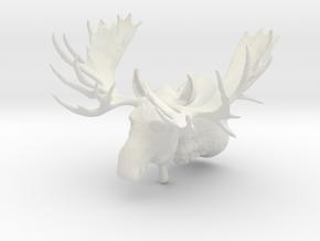 """""""Hook"""" the Moose Shoulder Mount in White Natural Versatile Plastic"""