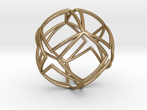 0588 Star Ball (Cube with Four-Point Stars) 5 cm in Polished Gold Steel