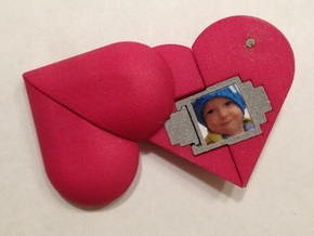 Heart Amulet Small - Outer Part 2 Right in Pink Processed Versatile Plastic