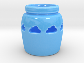 Cloud Candle Holder in Gloss Blue Porcelain