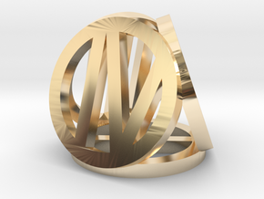 d4 circled Roman number in 14k Gold Plated Brass