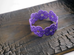 Flower Bracelet (closed) in Purple Strong & Flexible Polished