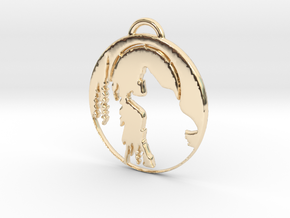 Wolf Pendant 2 in 14k Gold Plated Brass
