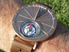 27.75N Sundial Wristwatch For Working Compass in Raw Bronze
