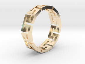 Track Ring in 14k Gold Plated Brass