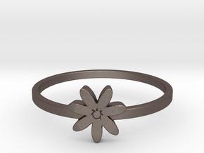 Flower  in Polished Bronzed Silver Steel: 4 / 46.5