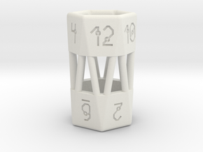Barrel Dice RPG Set and Singles in White Natural Versatile Plastic: d12