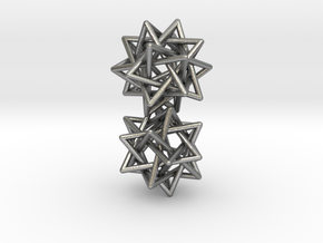 5 tetrahedron earrings in Natural Silver