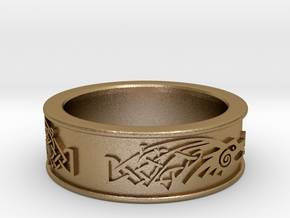 Skyrim ring Dragonborn  in Polished Gold Steel