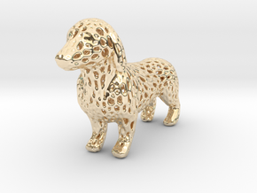Voronoi Dachshund in 14k Gold Plated Brass